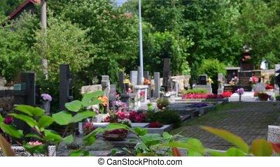 enterrement, cimetière, cimetière, vue, cimetière, terrestre