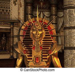 enterrement, pharaon, statue, chambre