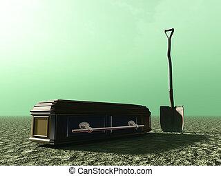 enterrement, résumé, cercueil, bêche