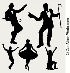 entertainer, actie, silhouette