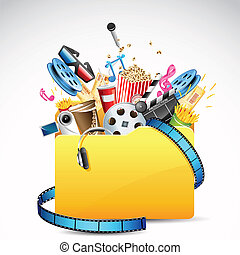illustration of folder full of entertainment and cinema object
