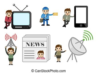 Entertainment and Communication Concepts Cartoon Vectors