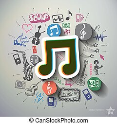 Entertainment and music collage with icons background