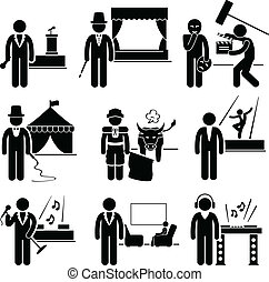A set of pictogram showing the professions of people in the entertainment industry.