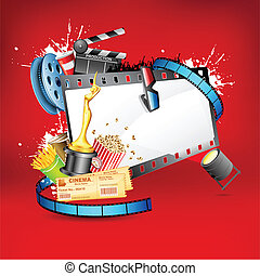 Entertainment Background - illustration of pop corn, reel ...