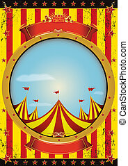Entertainment circus poster - A circus poster with a big top...