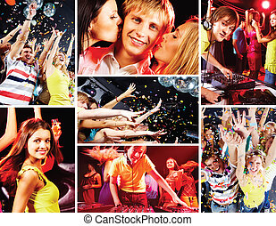Collage of attractive young people enjoying party and deejay at work