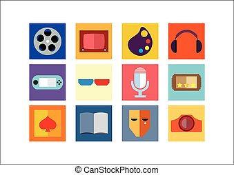 Entertainment Color Flat Icons