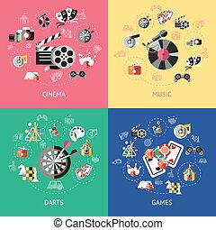 Entertainment Compositions Or Icon Set