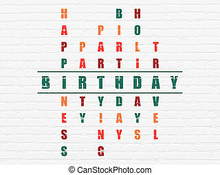 Entertainment, concept: Birthday in Crossword Puzzle