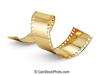 Entertainment concept - 3d render of golden film strip...
