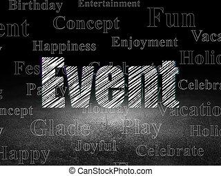 Entertainment, concept: Event in grunge dark room