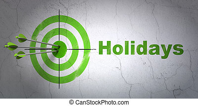 Entertainment, concept: target and Holidays on wall background