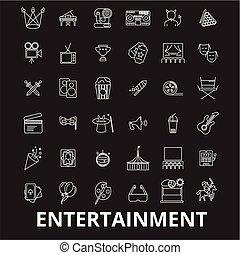 Entertainment editable line icons vector set on black background. Entertainment white outline illustrations, signs, symbols