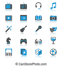 Entertainment flat with reflection icons