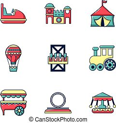 Entertainment for children icons set, flat style