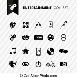 Entertainment fresh icon set.