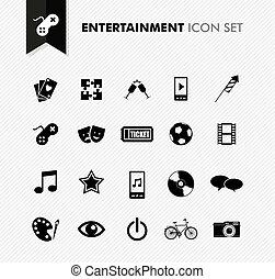 Entertainment fresh icon set.