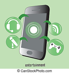 entertainment functions on a mobile phone designed for humans