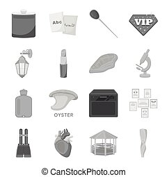 Entertainment, health, education and other web icon in monochrome style.Body, art, medicine icons in set collection.