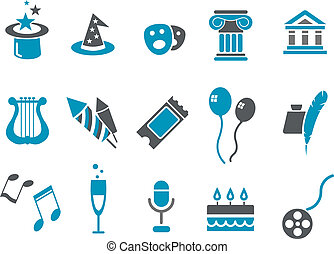 Entertainment Icon Set - Vector icons pack - Blue Series, ...