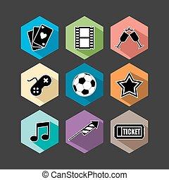 Entertainment icons set flat illustration
