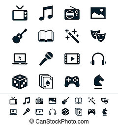 Entertainment icons - Simple vector icons. Clear and sharp....
