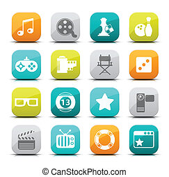 Vector set of entertainment icons.