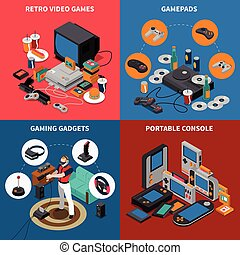 Entertainment isometric concept with electronic devices virtual reality equipment and player vector illustration