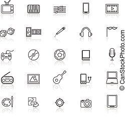 Entertainment line icons with reflect on white