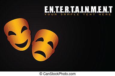 illustration of happy and sad mask on entertainment background