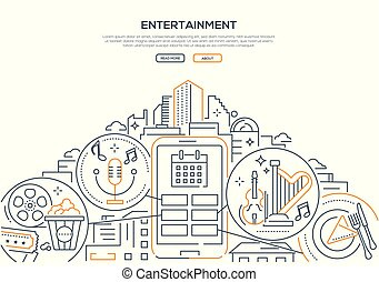 Entertainment - modern line design style web banner
