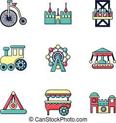 Entertainment park icons set, flat style
