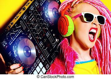 entertainment - Expressive modern DJ girl wearing bright...