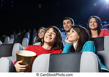 Entertainment - Group of young men at cinema