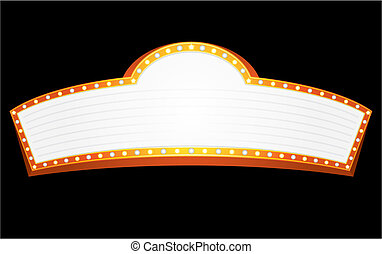 Big gold banner for cinema, theater or circus