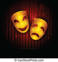 illustration of entertainment mask on stage curtain backdrop