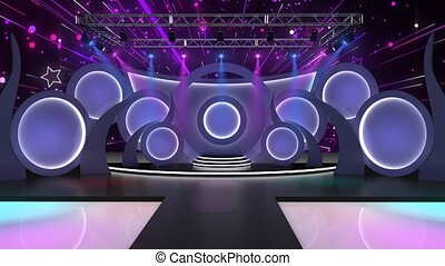 Purple and Blue colourful background with shinning particles and Disco lights for TV Program with Entertaiment programme theme. seamless loopable HD video.