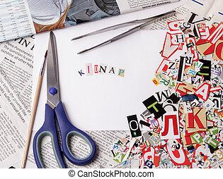 entführen, inschrift, gemacht, mit, ausschneiden, briefe