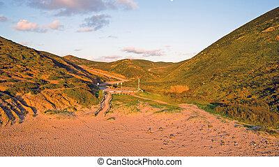 entfernt, sandstrand, auf, der, westcoast, in, portugal