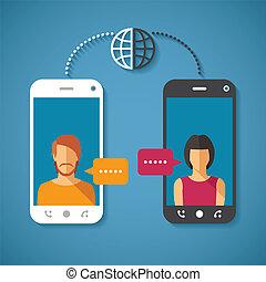 entfernung, begriff, kommunikation, global, langer, vektor, ...