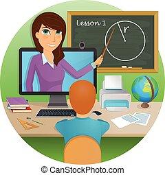 entfernung, bildung, schueler, vortrag, learning., hört