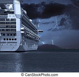 entfernung, schiff, blitzschläge, segeltörn
