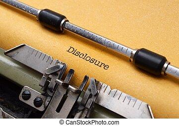 enthüllung, form, schreibmaschine