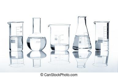 enthalten, gruppe, klar, flüssiglkeit, flaschen
