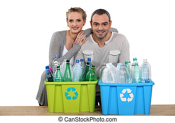 enthousiast, paar, recycling