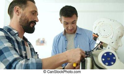 enthousiaste, constructors, discuter, robot, mockup