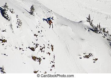 enthousiaste, snowboarding, sport, hiver, ski