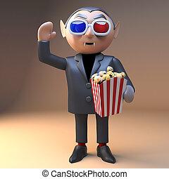 Enthralled cartoon vampire dracula eats popcorn at the ...
