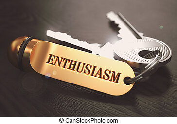 Enthusiasm Concept. Keys with Golden Keyring.